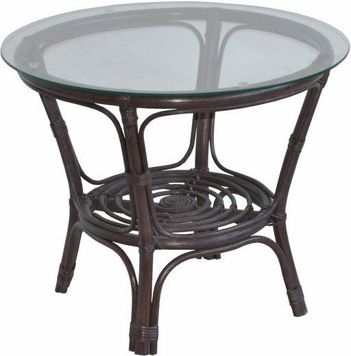 home affaire rattantisch mit runder sicherheits klarglasplatte durchmesser 70 cm online. Black Bedroom Furniture Sets. Home Design Ideas