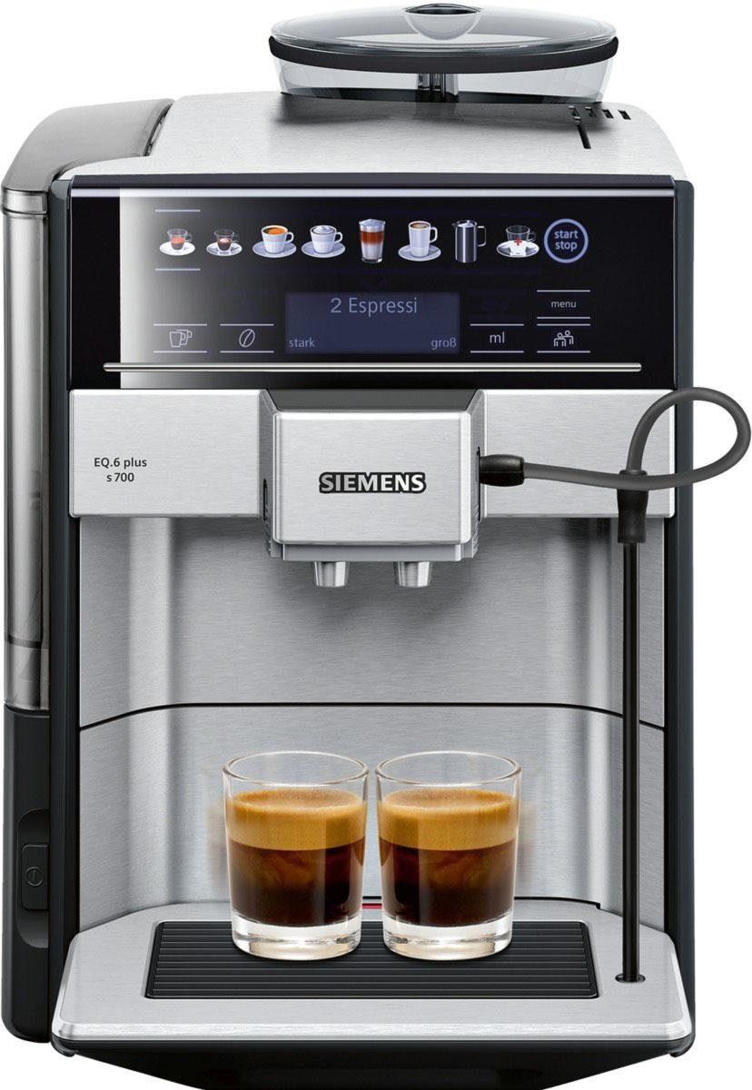 SIEMENS Kaffeevollautomat TE657503DE Kaffeevollautomat EQ.6 plus s700, 1,7l Tank, Scheibenmahlwerk, beleuchtetes Tassenpodest