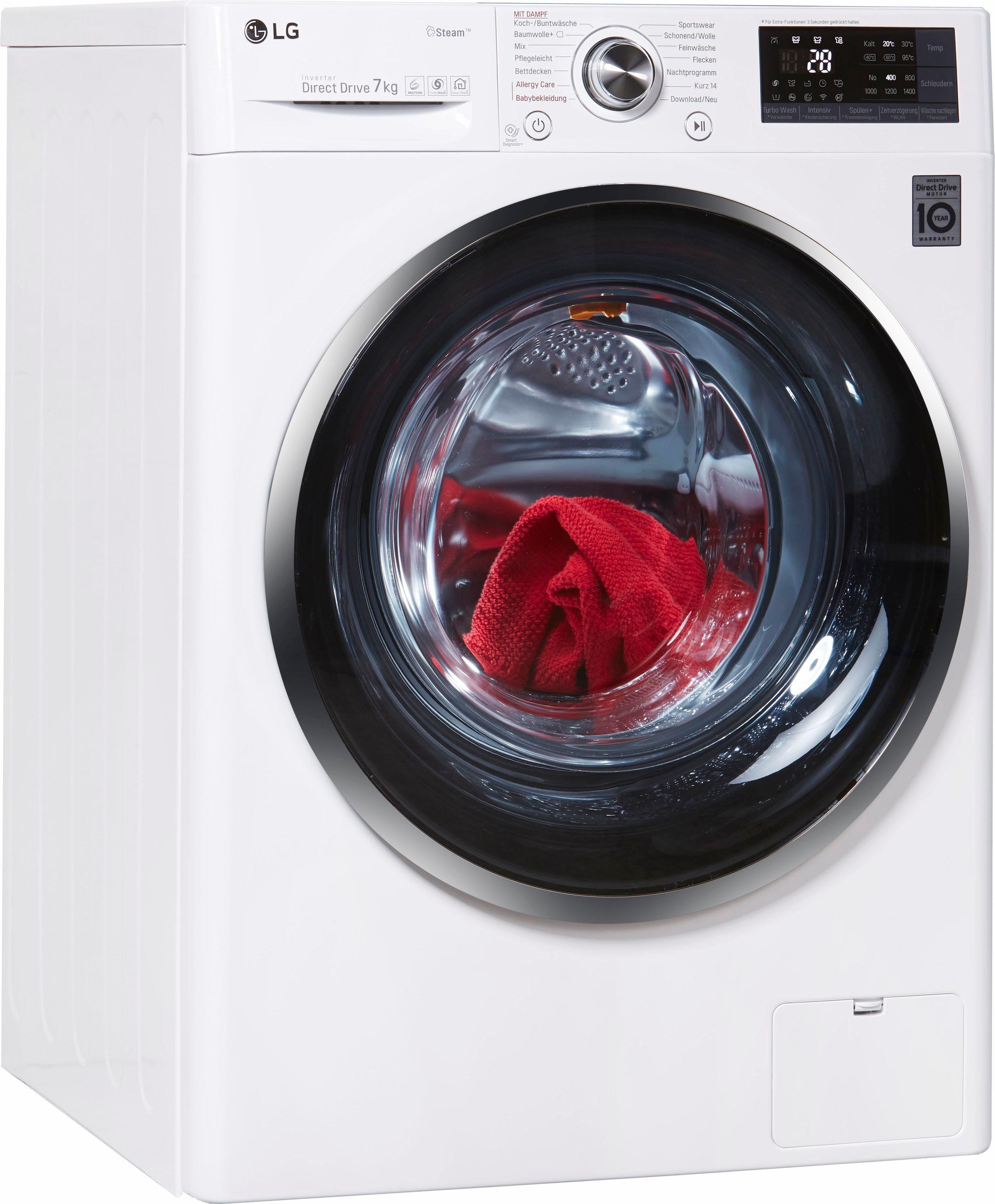 LG Waschmaschine Hygiene Care F 14WM 7TS2, 7 kg, 1400 U/Min, SpaSteam Dampffunktion