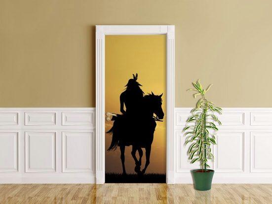 Bilderdepot24 Türtapete, Crazy Horse, selbstklebendes Vinyl