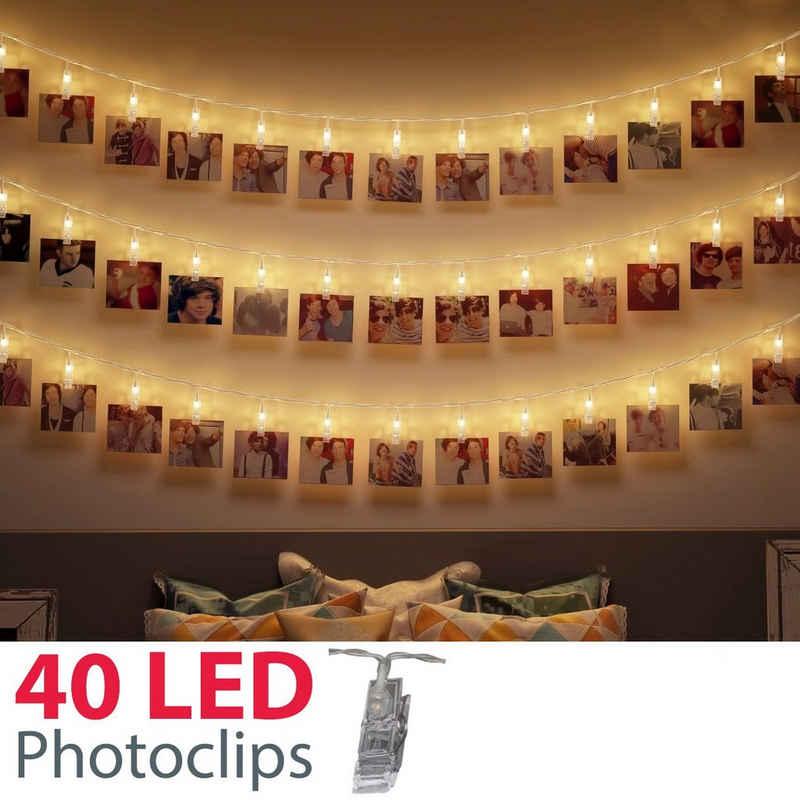B.K.Licht LED-Lichterkette »Rana«, 5m LED Fotolichterkette Stimmungsbeleuchtung mit 40 Photo-Clips