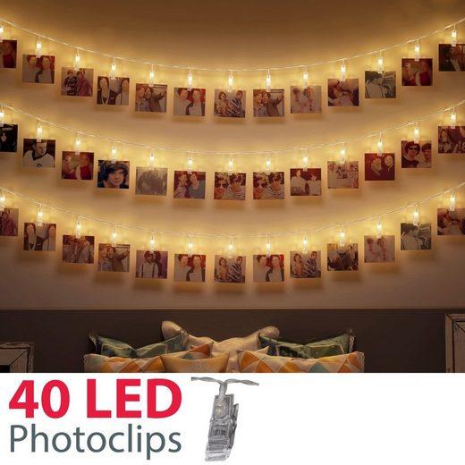 B.K.Licht LED-Lichterkette »Rana«, 40-flammig, LED Fotolichterkette mit 40 Photoclips