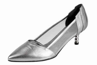 Silberne schuhe kleiner absatz