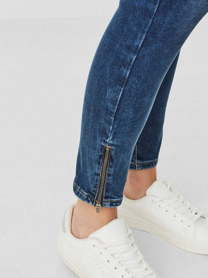 Damen Vero Moda Five LW Ankle Skinny Fit Jeans blau, schwarz | 05713614968660