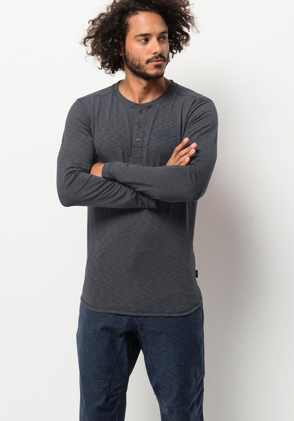 jack wolfskin langarmshirt winter travel henley men. Black Bedroom Furniture Sets. Home Design Ideas