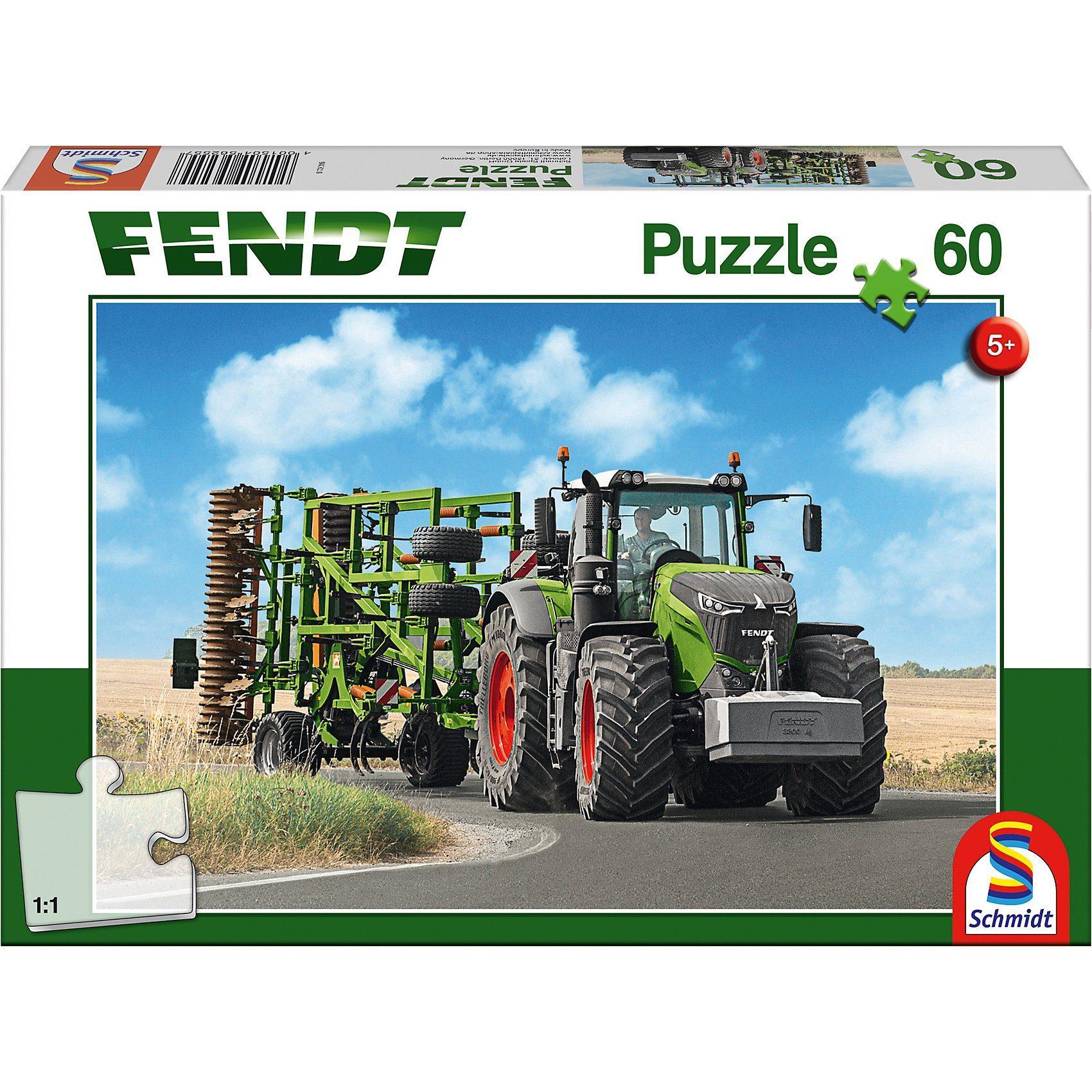 Schmidt Spiele Puzzle 60 Teile Fendt 1050 Vario mit Amazone Grubber Cenius