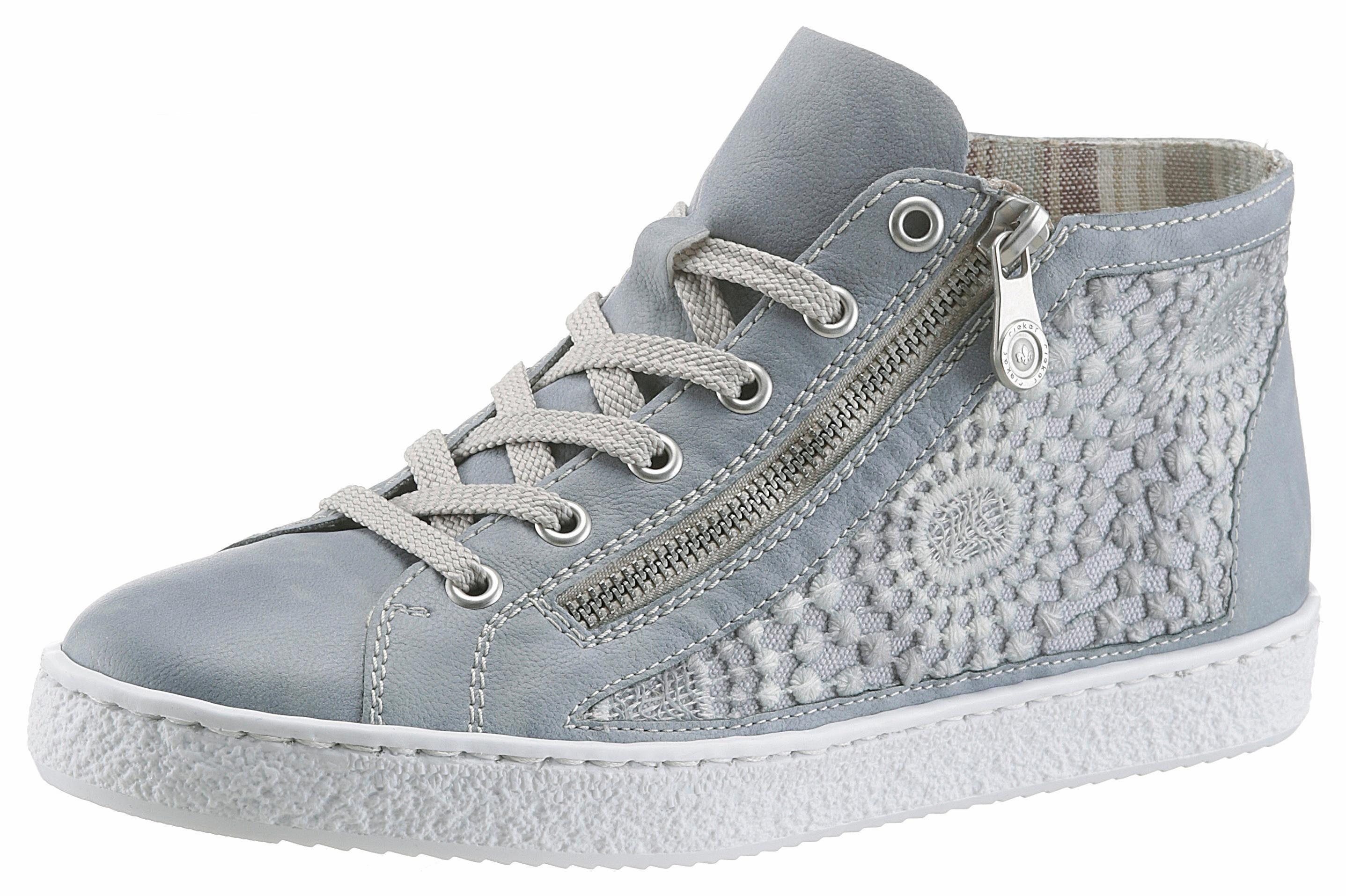 Rieker Sneaker, mit seitlicher Häkel-Perforierung  graublau
