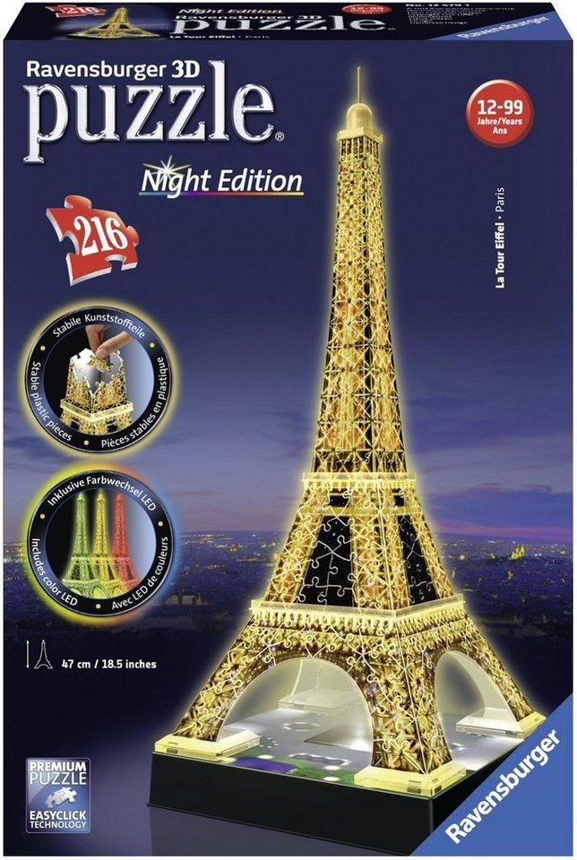 Ravensburger 3D-Puzzle »Eiffelturm bei Nacht«, 216 Puzzleteile, mit Leuchtmodul inkl. LEDs