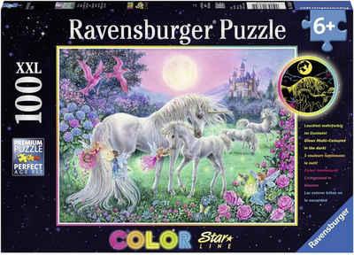 Ravensburger Puzzle »Color Star Line, Einhörner im Mondschein«, 100 Puzzleteile, leuchtet im Dunkeln, Made in Germany, FSC® - schützt Wald - weltweit