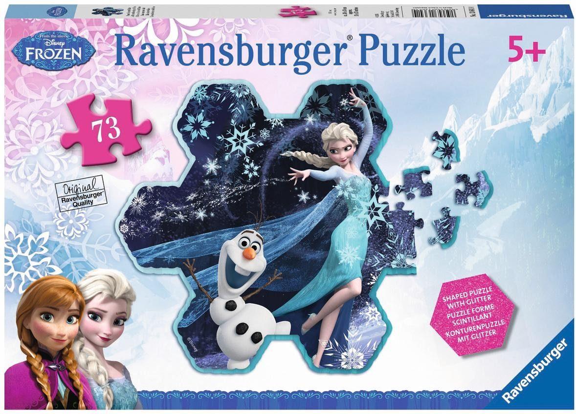 Ravensburger Glitzerpuzzle, 73 Teile, »Elsas Schneeflocke«