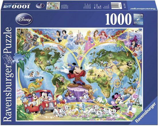Ravensburger Puzzle »Disney's Weltkarte«, 1000 Puzzleteile, Made in Germany, FSC® - schützt Wald - weltweit