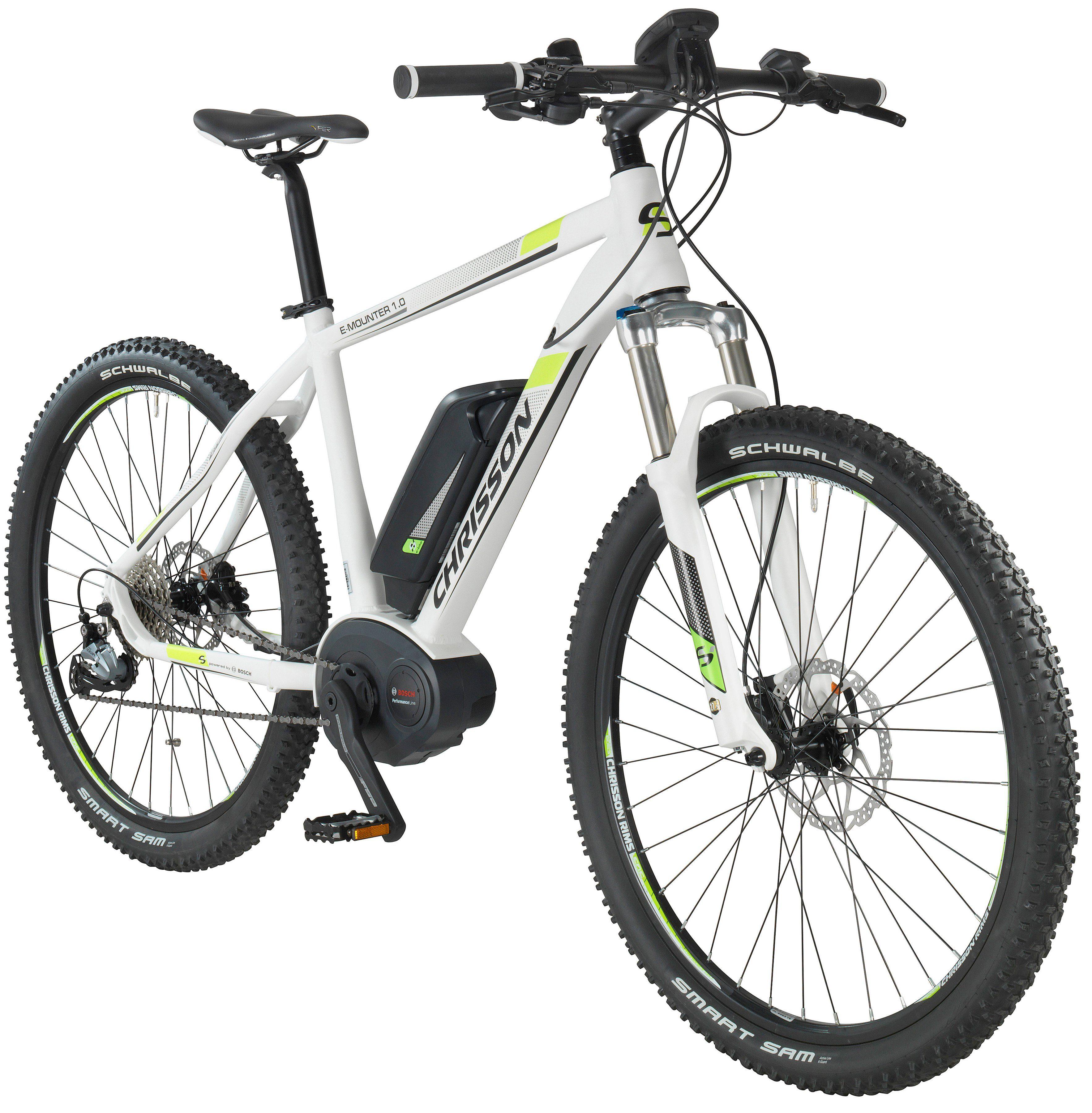 CHRISSON E-Bike Mountainbike »E-Mounter«, 27,5 Zoll, 44cm Rahmenhöhe, 9 Gang, BOSCH Mittelmotor