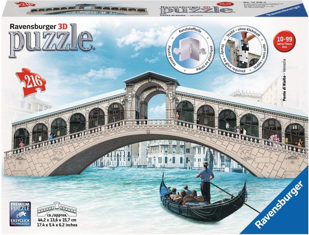 Ravensburger 3D Puzzle, 216 Teile, »Rialtobrücke«