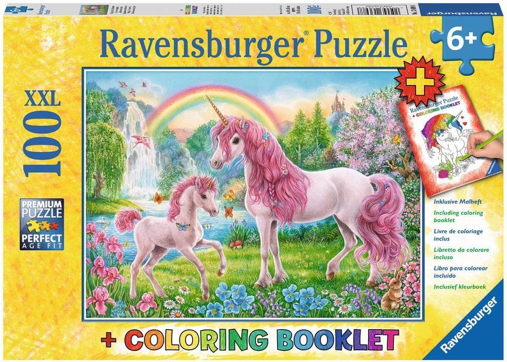 Ravensburger XXL Puzzle, 100 Teile mit Malbuch, »Magische Einhörner«
