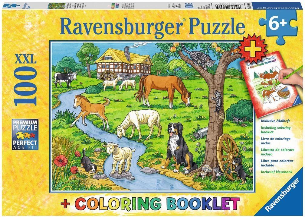 Ravensburger XXL Puzzle, 100 Teile mit Malbuch, »Liebste Bauernhoftiere«