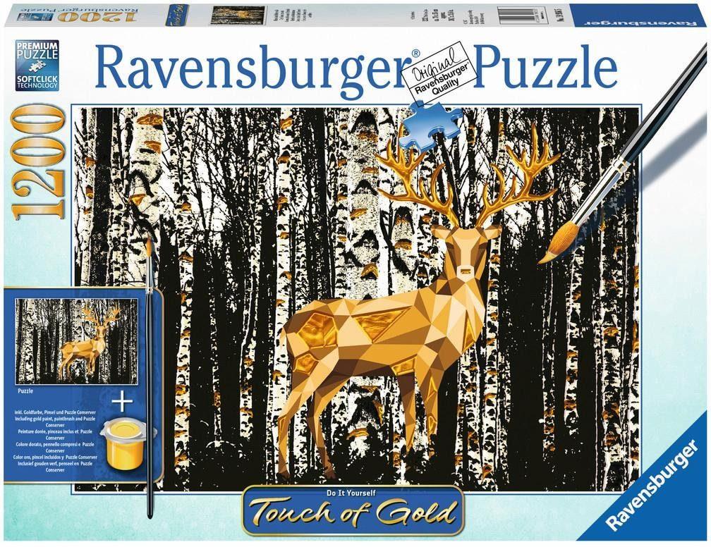 Ravensburger Puzzle, 1200 Teile, »Touch of Gold, Hirsch im Birkenwald«