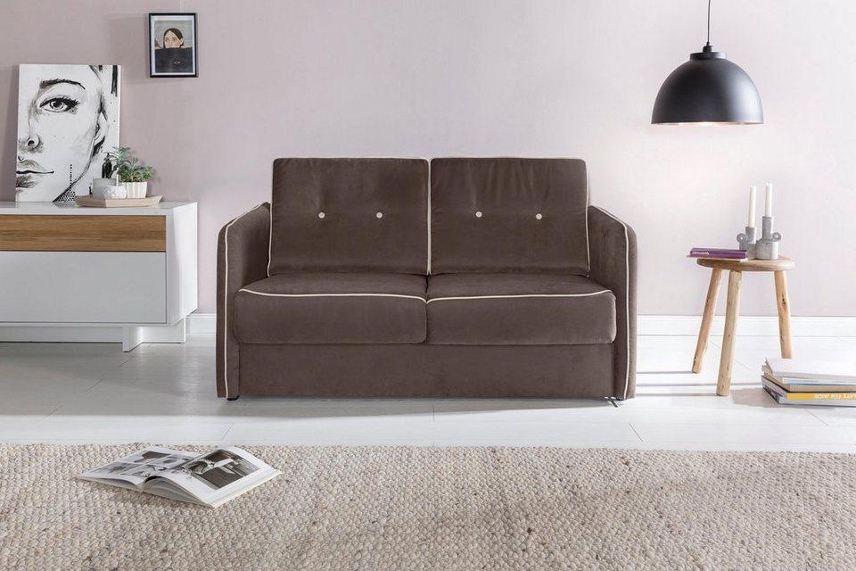 home affaire schlafsofa merina mit zweigeteilter liegefunktion auszug nach vorn federkern. Black Bedroom Furniture Sets. Home Design Ideas