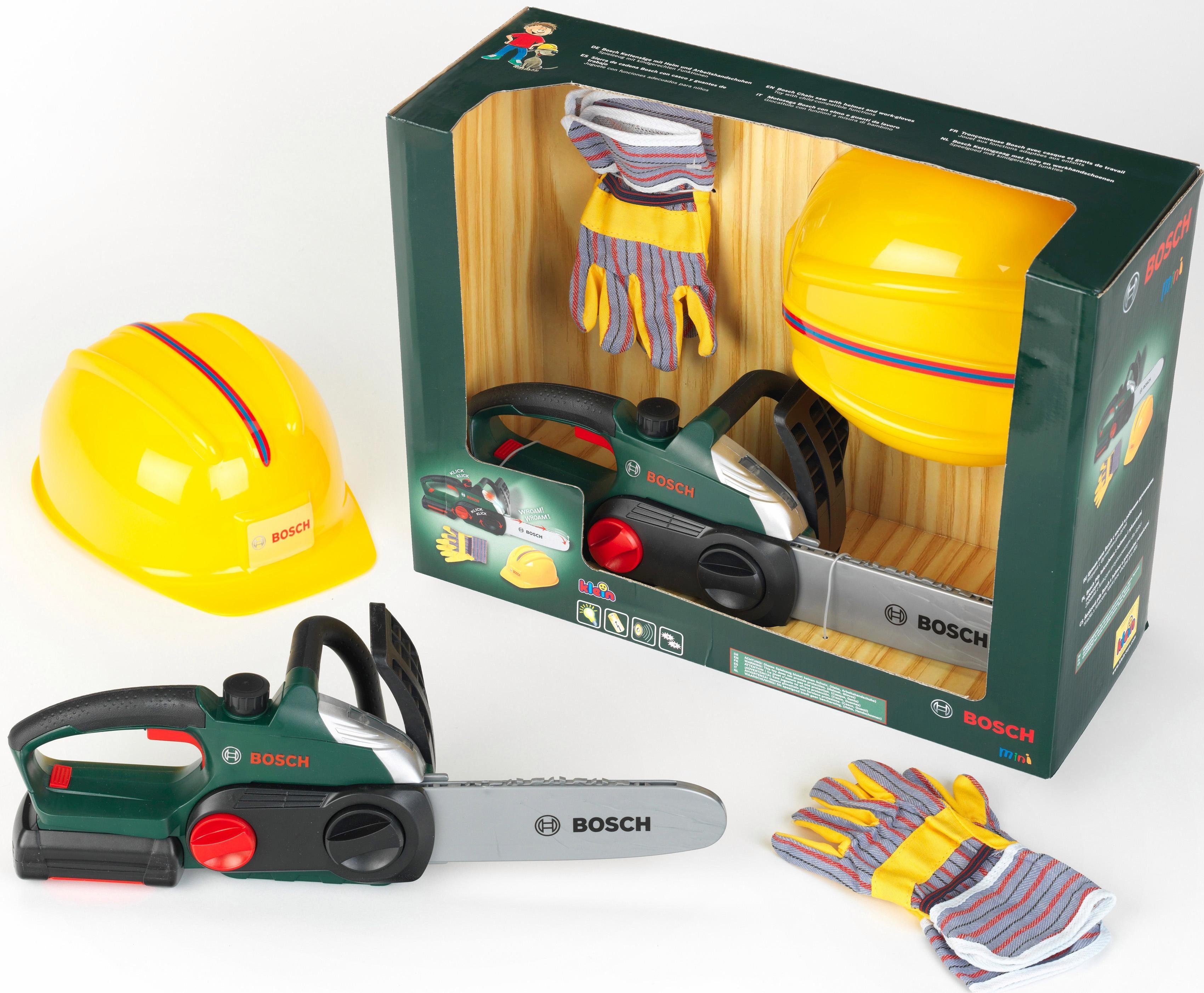 Klein Kinder Werkzeugset, »Bosch Kettensäge mit Helm und Handschuhe«