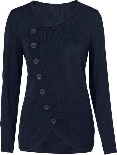 Classic Basics Pullover mit Zierknopfleiste im Vorderteil