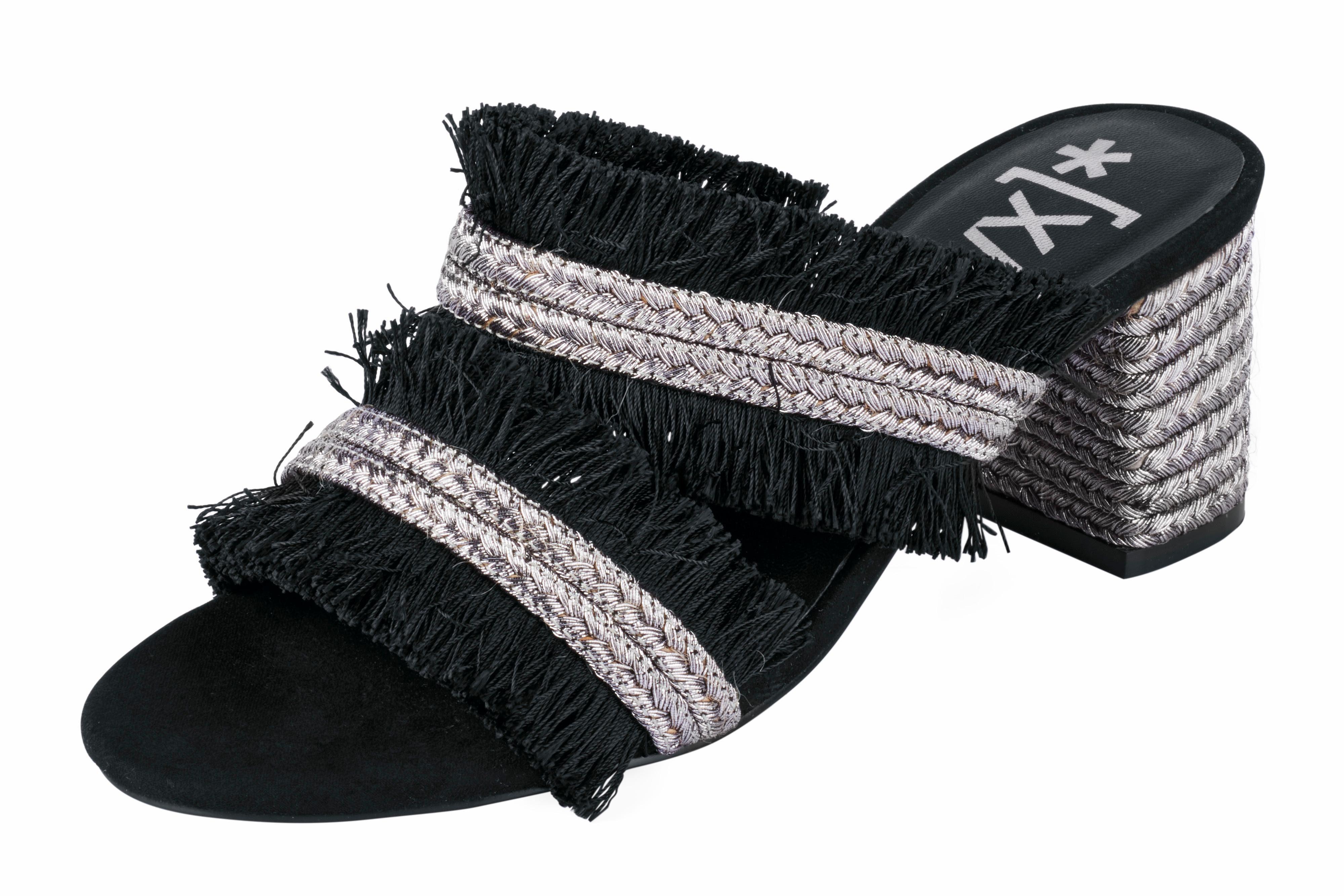 XYXYX Sandalette mit Fransen online kaufen  schwarz