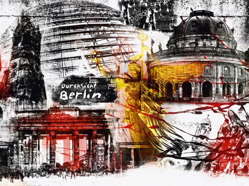 artland poster leinwandbild berlin skyline abstrakt architektur digitale kunst online kaufen. Black Bedroom Furniture Sets. Home Design Ideas
