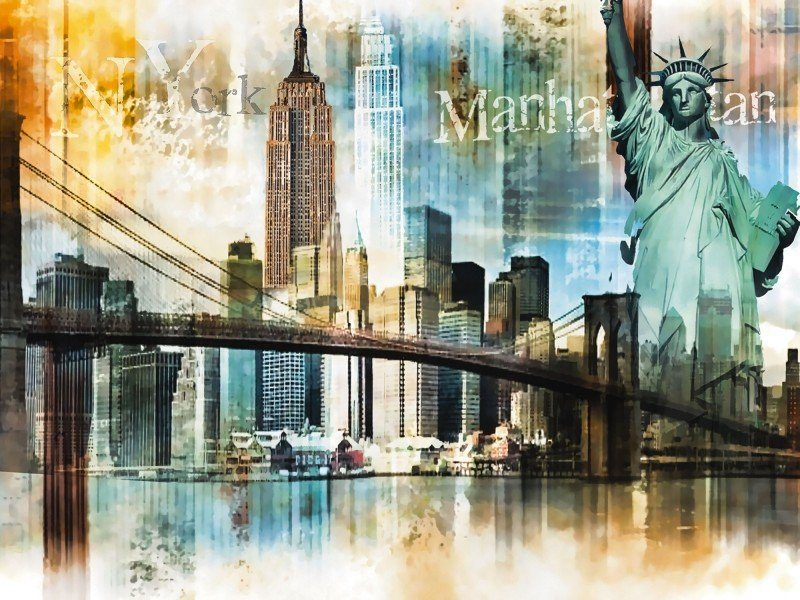 artland poster leinwandbild newyork skyline collage st dte digitale kunst online kaufen otto. Black Bedroom Furniture Sets. Home Design Ideas
