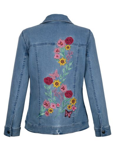 Paola Denim Jacket With Floral Embroidery