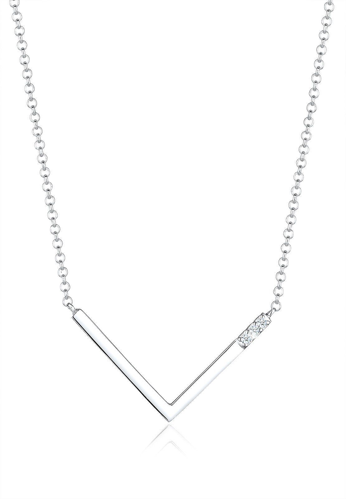 Diamore Halskette »V-Kette Geo Diamant (0.06 ct.) 925 Silber Seline«