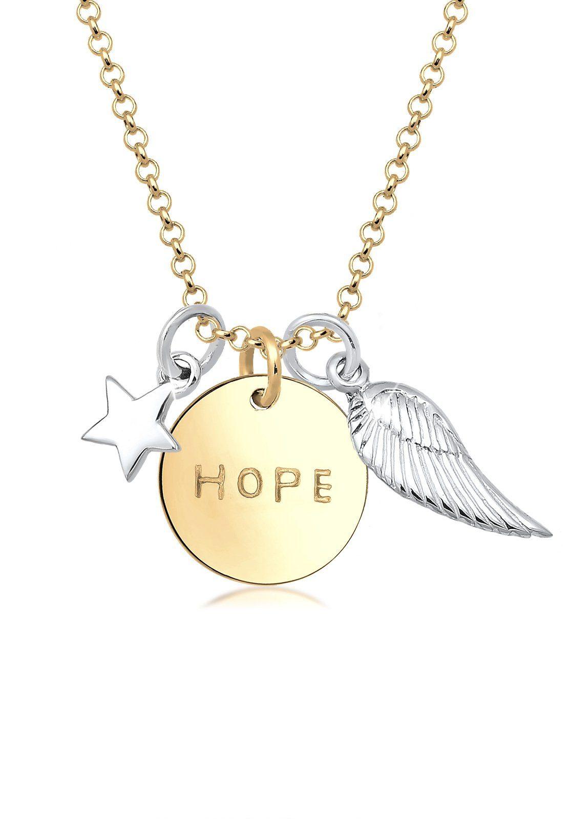 Elli Halskette »Hope Sterne Flügel Talisman Bi-Color 925 Silber«