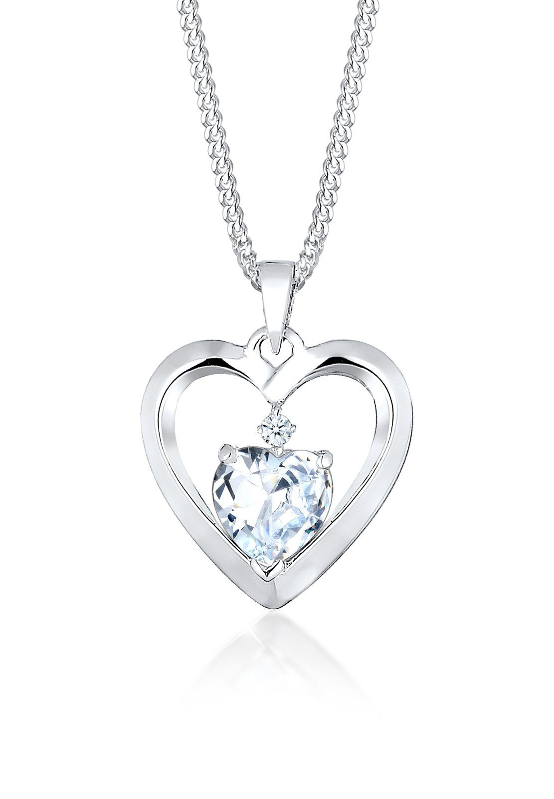 Diamore Halskette »Herz Diamant Zirkonia 925 Sterling Silber«