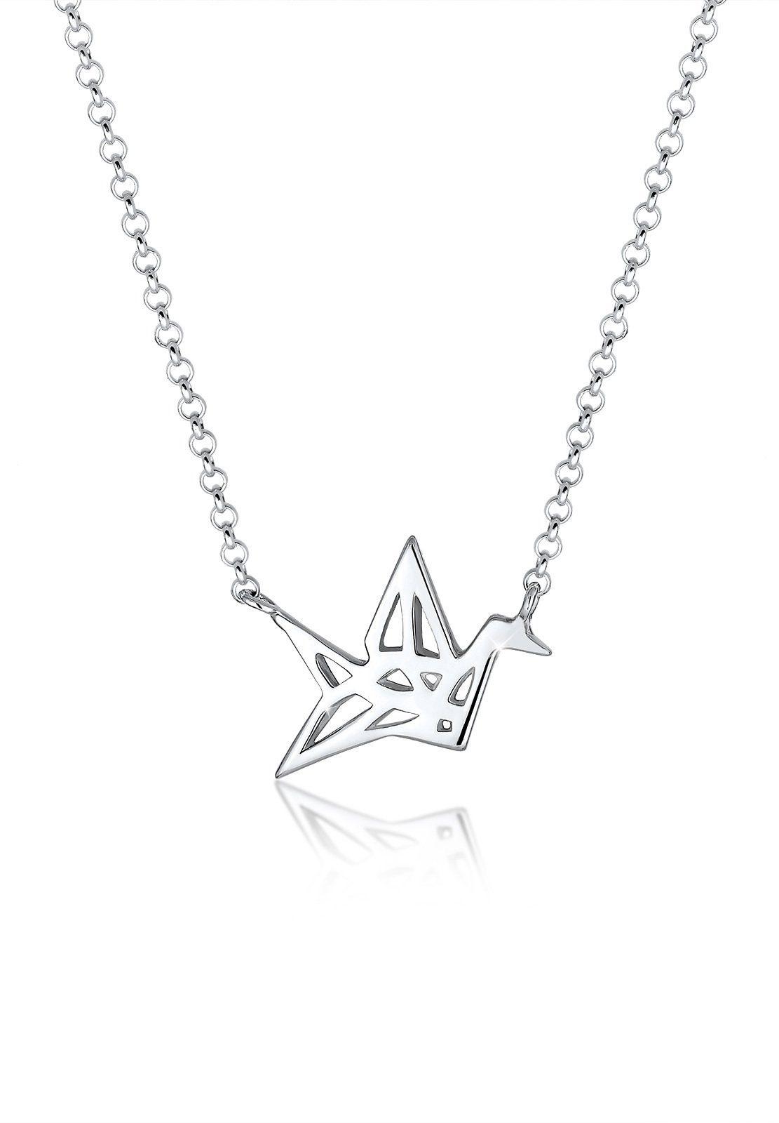 Elli Halskette »Vogel Kranich Oregami Geo 925 Sterling Silber«