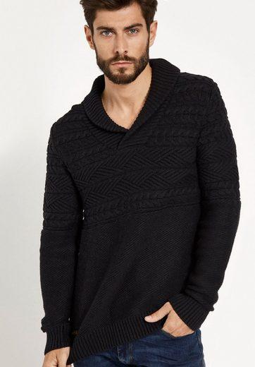 khujo V-Ausschnitt-Pullover NICOLAS, mit unterschiedlichen Strukturen