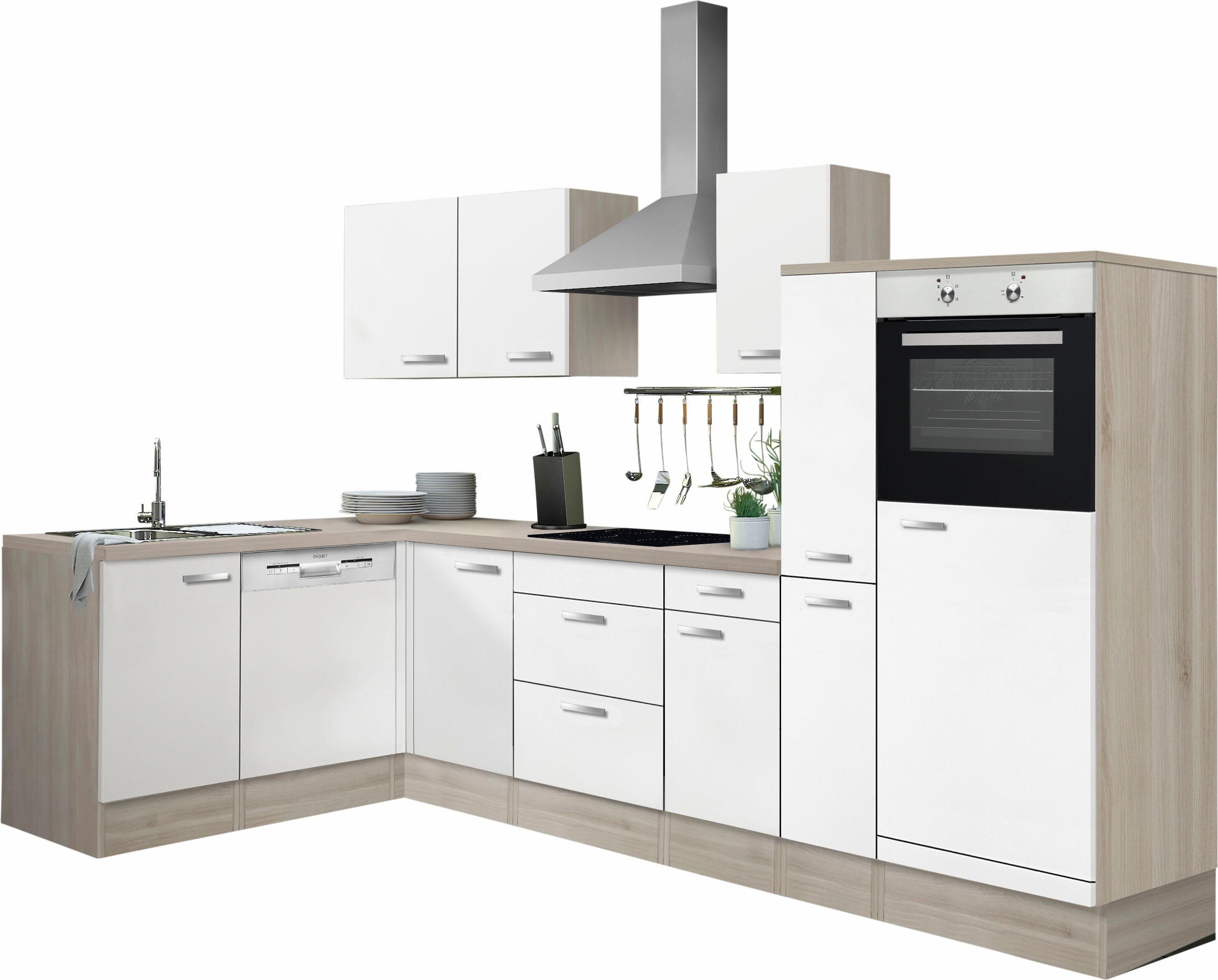 Optifit Winkelküche mit E-Geräten »Faro«, Stellbreite 300 x 175 cm | Küche und Esszimmer > Küchen > Winkelküchen | Weiss - Rot - Weiß - Matt | Edelstahl | OPTIFIT