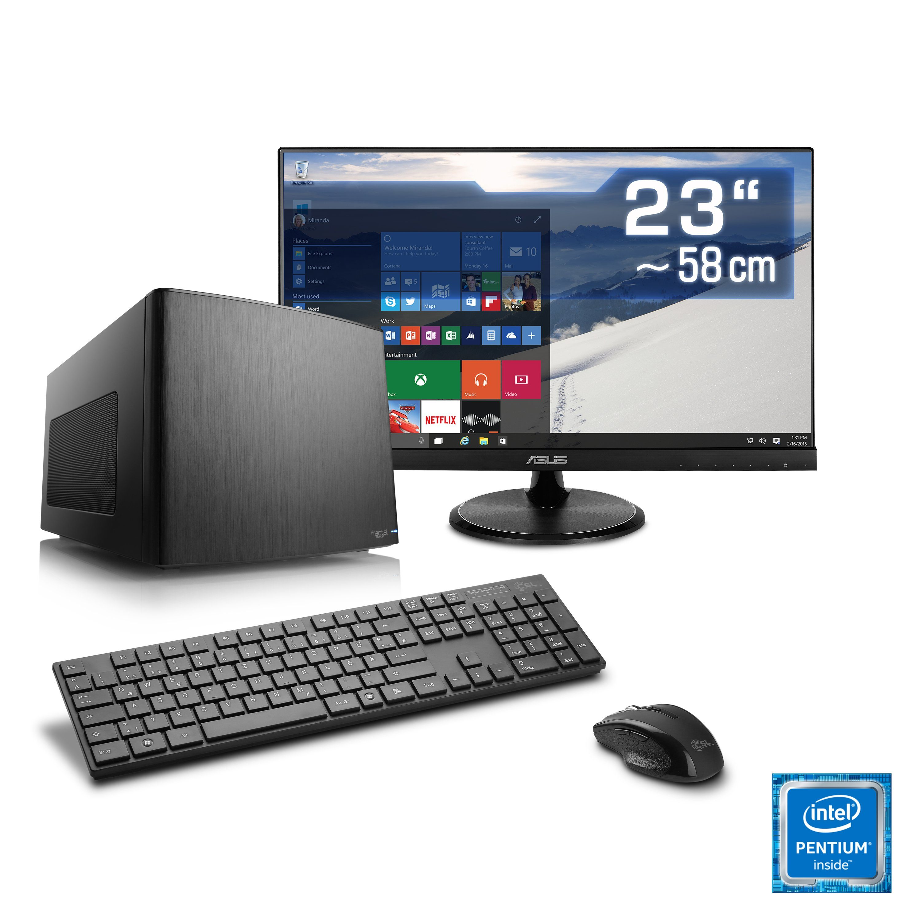 CSL Mini-ITX PC Set | Pentium G4560 | HD 610 | 8 GB DDR4 | SSD »Multimedia Box T1894 Windows 10«
