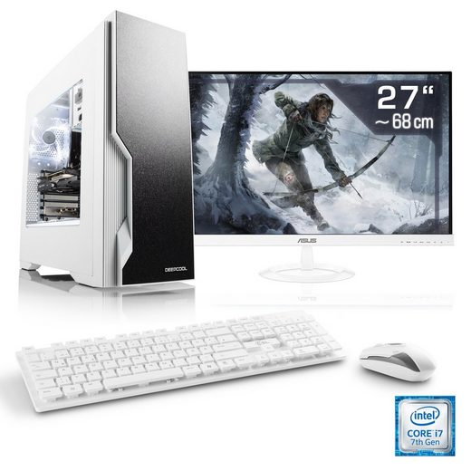 "CSL Gaming PC Set, i7-7700K, GTX 1070, 16 GB RAM, SSD, 27"" TFT »Speed T9667 Windows 10 Home«"