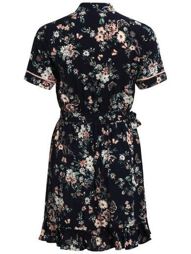 Vila Gemustertes, kurzärmeliges Kleid