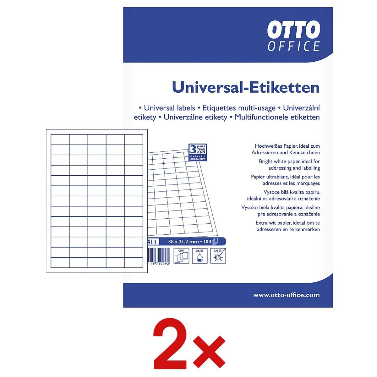 OTTOOFFICE STANDARD 2x 6500er-Pack Universal Klebeetiketten 1 Set