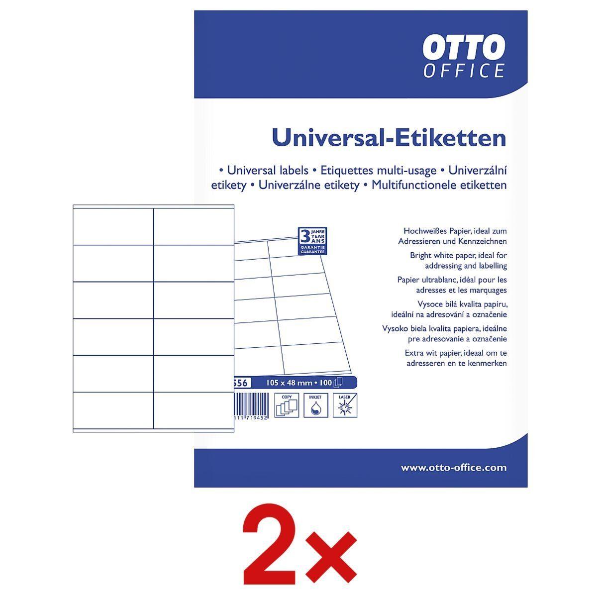 OTTOOFFICE STANDARD 2x 1200er-Pack Universal Klebeetiketten 1 Set
