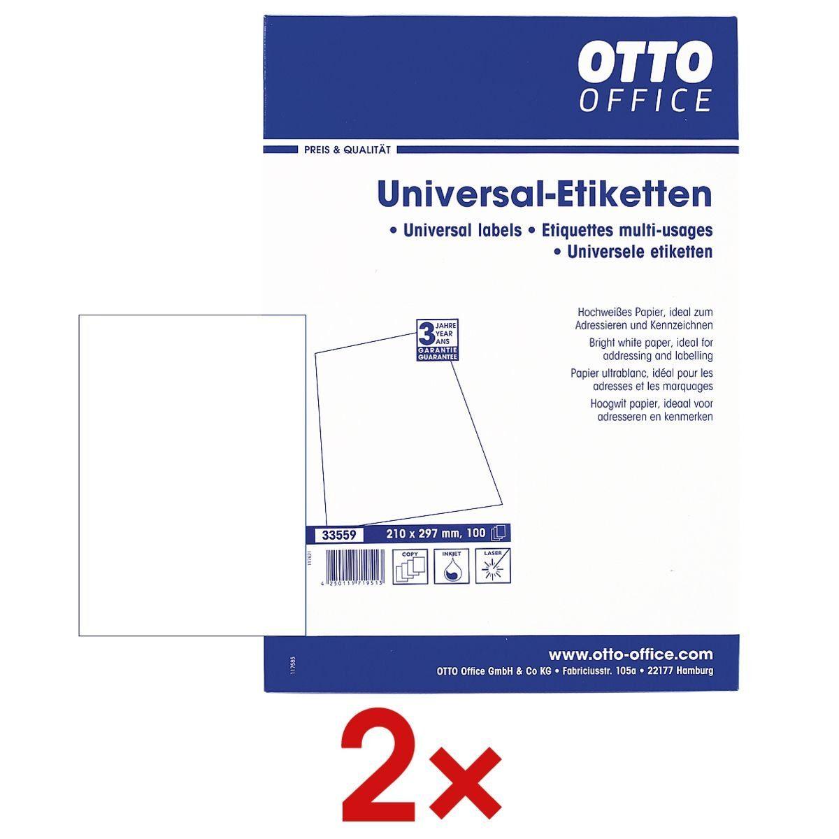 OTTO Office Standard 2x 100er-Pack Universal Klebeetiketten 1 Set