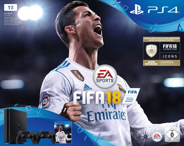 PlayStation 4 (PS4) slim 1TB + FIFA 18 (DLC) + 2. Controller