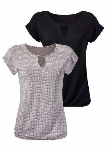 LASCANA T-Shirts (2 Stück) mit Cut-Out-Detail am Rundhalausschnitt