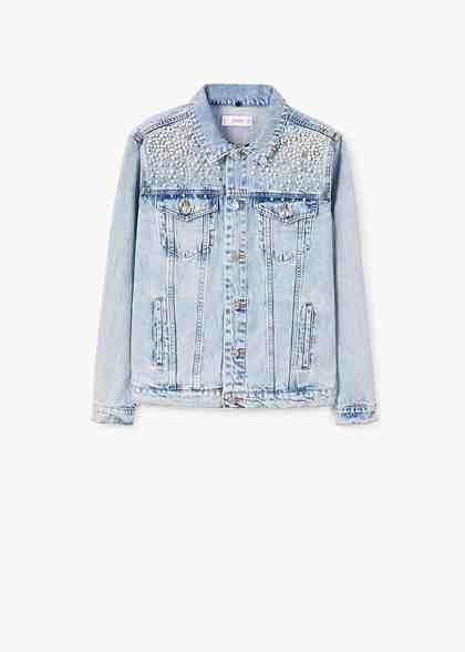 MANGO Jeansjacke mit Perlen