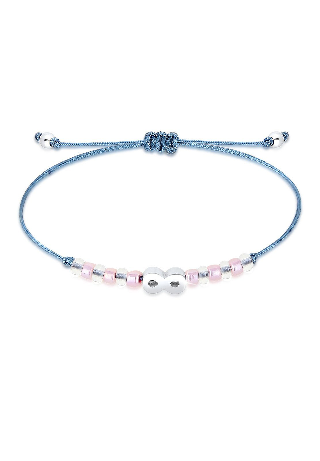 Elli Armband »Infinity Beads Kugeln Textilbändchen 925 Silber«
