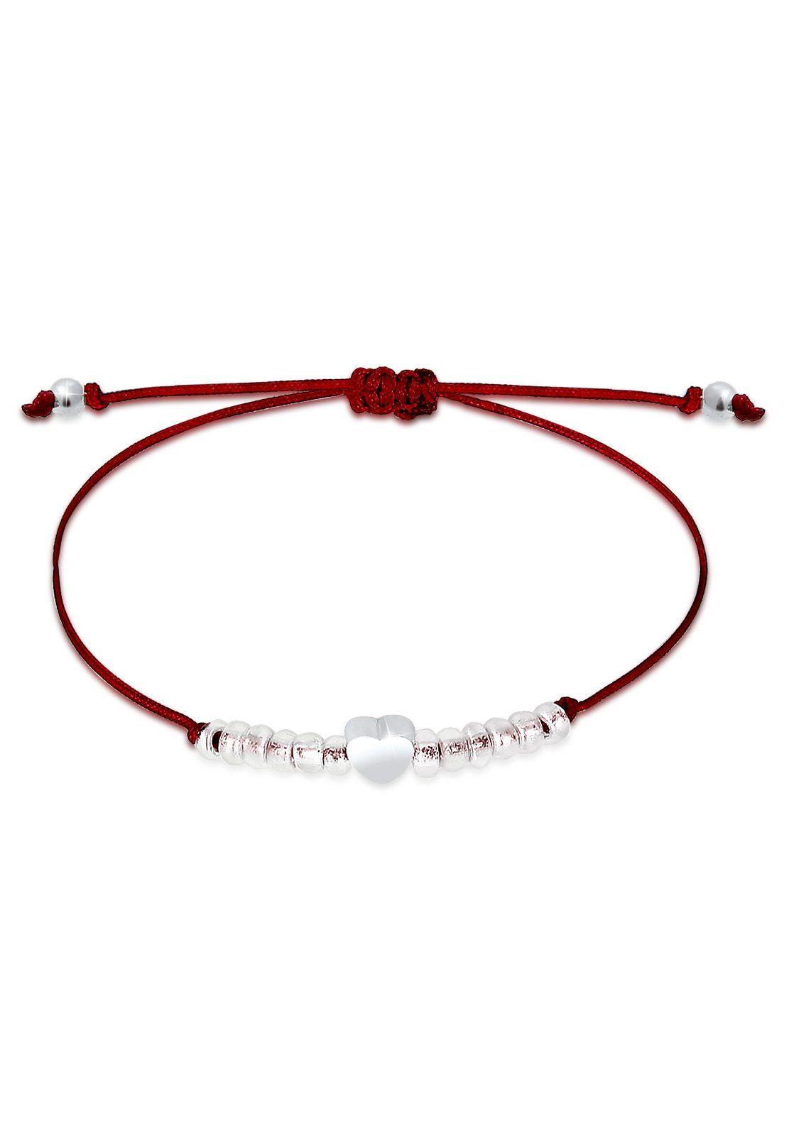 Elli Armband »Herz Liebe Beads Kugeln Textilbändchen 925 Silber«
