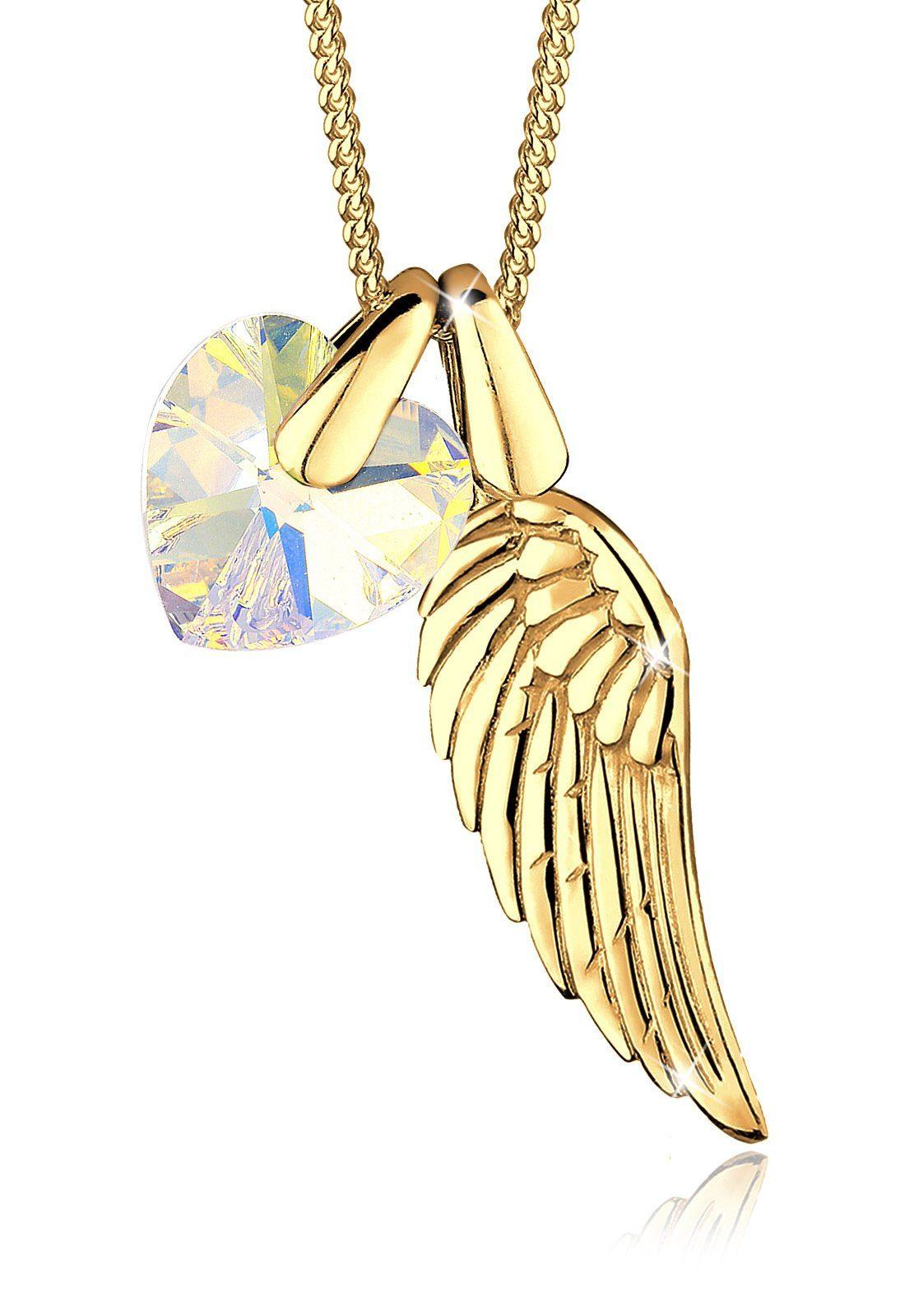 Elli Halskette »Flügel Herz Zart Swarovski® Kristalle 925 Silber«