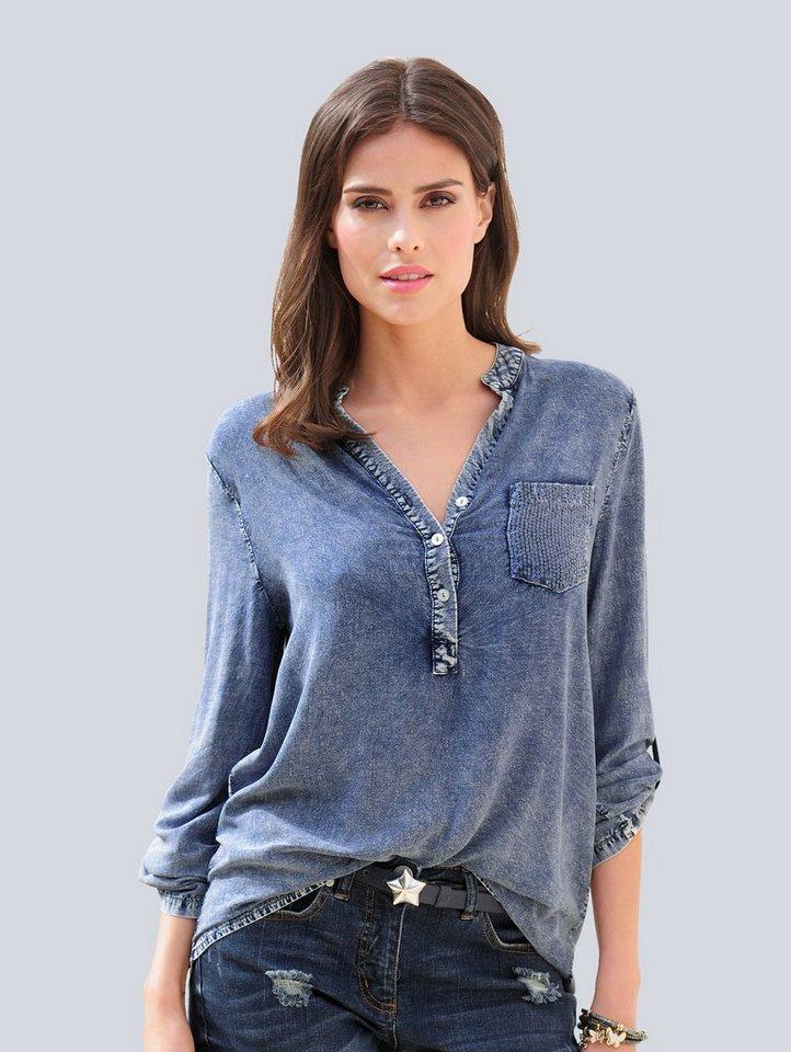 Damen Alba Moda  Tunika mit paillettenbesetzter Brusttasche blau | 04055715528475