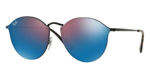 RAY BAN RAY-BAN Damen Sonnenbrille »Blaze Round RB3574N«, schwarz, 153/7V - schwarz/blau