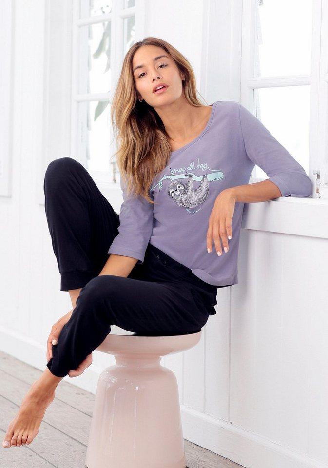 Damen Petite Fleur Pyjama mit Faultier Print nap all day    08961100230679