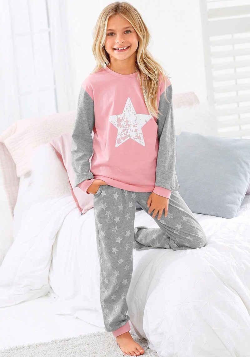 Arizona Pyjama in langer Form mit Sternen Print