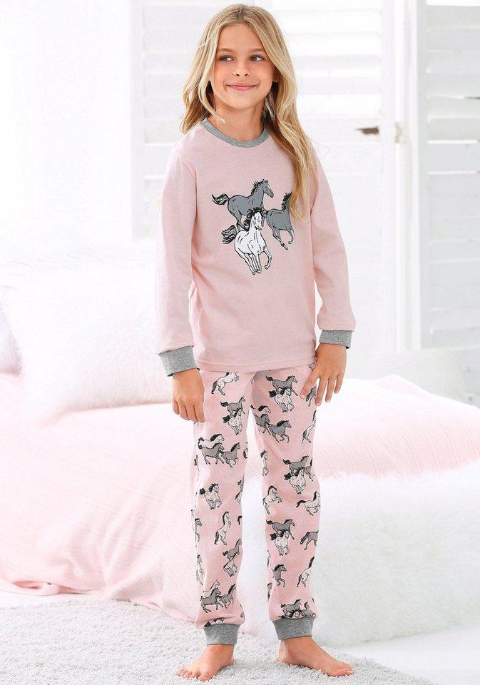 191190e8b69b8 Petite Fleur Mädchen Pyjama lang mit Pferde Print
